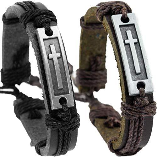 Soul Statement Cross Bracelets Two Pack: Confirmation Gifts for Men, Boys Adjustable Wrap Bracelet 2-Pack (Black & Brown)