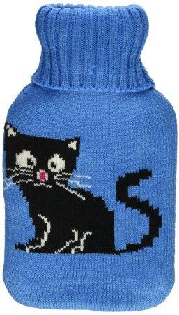 Premium Classic Rubber Hot Water Bottle w/Cute Knit Cover (1 Liter, Blue/Blue with Black Cat)
