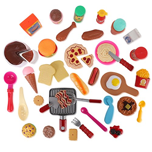 Liberty Imports Cooking Chef 50 Piece Pretend Play Food Assortment Toy Set for Kids with Pan, Kitchen Tools, Breakfast, Fast Food, Ice Cream, Desserts ()