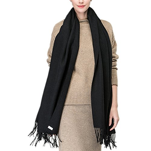 "Saferin Extra Large 78"" X 28"" Women and Men Thick Solid Cashmere Pashmina Wrap Shawl Scarf w/ Gift Box (1.black)"