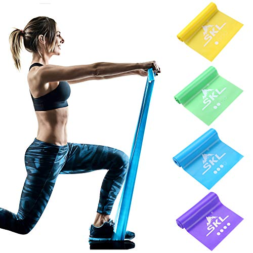 SKL Resistance Bands Set of 4 Exercise Band Non Latex Long Elastic Band for Upper & Lower Body & Core Exercise, Strength Training, Physical Therapy, Yoga, Pilates, Rehab, Stretching