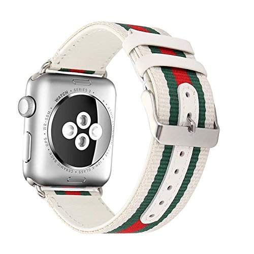 VIPPLUS for Apple Watch Band Double Layer of Woven Nylon and Genuine Leather Sport Bracelet Wristband Replacement for Apple Watch Series 1/2/3 iWatch Band (42mm ()