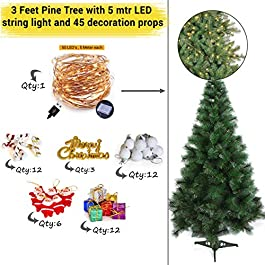 TIED RIBBONS Christmas Pine Tree for Home Office Decoration (5 Feet) with 51 Ornaments Tree Decoration Props and 5 mtr Long LED String Light – Xmas Tree