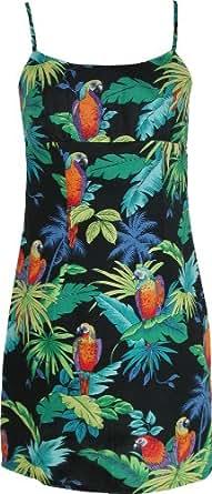 Empire Mini Sundress - Women's Jungle Parrots Spaghetti Strap Hawaiian Aloha Form Fitting Sun Dress in Black - XL
