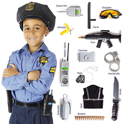 KidzLand 13 Pcs Police Costume for Kids | Real Heros with Toy Role Play Kit
