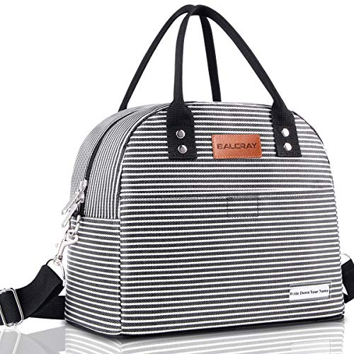 BALORAY Reusable Lunch Bag for Women Men Multi-functional Lunch Tote Bags with Shoulder Strap,Thermal Cooler Bag Lunch Container for Women Men Work Picnic (Black White Strip) (Lunch Container Bag)
