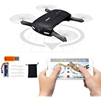 Xgody Pocket Selfie Drone JJRC H37 Mini ElFIE with WIFI FPV Cellphone Control Adjustable HD Camera/ Altitude Hold/One Press Return Quadcopter Helicopter Black