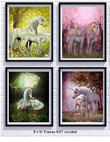 Unicorn Room Decor Art Prints 4 Pack | Set of Four Photos 8x