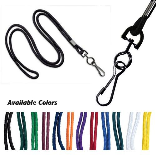 - Red Round Braid Lanyard with Black Swivel Hook - 1000pk