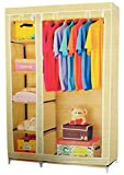 Evana 3.5 Feet Creative Cream Cabinet, Easy Installation Folding Wardrobe Cupboard Almirah Foldable Storage Rack Collapsible Cloths Organizer