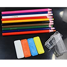 WellieSTR 10 Assorted Color Peel-Off China Markers,GREASE PENCIL And 4 Mini Tailor's Chalk White/Blue/Orange/Yellow Kit For Sewing DIY