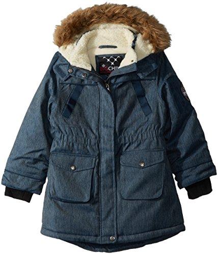 Big Chill Little Girls Sherpa Lined Long Jacket, Blue Jean, 6X