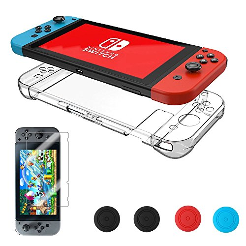 Nintendo Switch Case, [Updated] Vorida Hard Back Cover Charing No Need Remove, Anti-Scratch & Shock-Absorption 10H Tempered Glass Screen Protector + Joy Con Grip Caps, ()