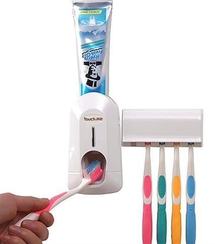 SunnyGod Accesorios de baño Portacepillos de Dientes, exprimidor automático de Pasta de Dientes de plástico