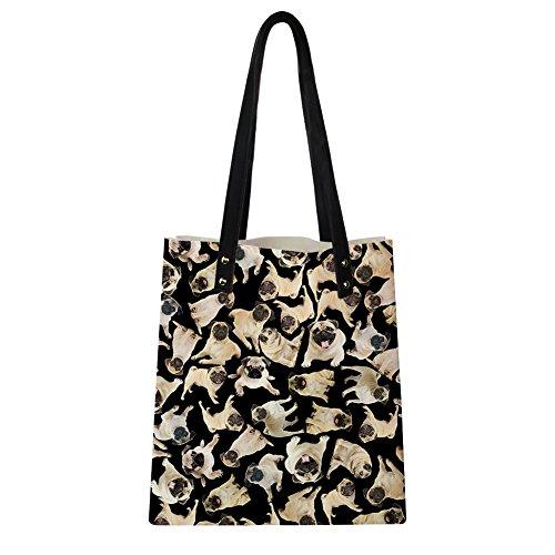 Dog Bags 7 Print Fashion PU Tote Puzzle Instantarts Shoulder Pug Cute Leather Women 5qcUURAWv
