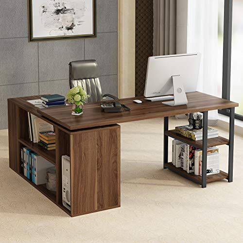Computer Desk File Cabinets - L-Shaped Computer Desk, LITTLE TREE Rotating Corner Computer Desk with Bookcase &File Cabinet, Reversible Study Writing Desk Table Workstation for Home Office