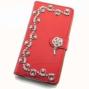 Portatil Style Design–Funda con función atril y brillantes Ranken applikation Flip Cover Carcasa Funda Case Modern Bag para Samsung Galaxy S5Mini SM-G800F en rojo