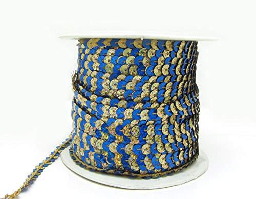MOPOLIS 100Yards 6mm Sequins Paillettes Strand Line Sew on Trim Spangles 23 Color Pick | Color - Blue-silver