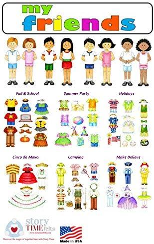 Dress Up Felt Doll Set 8 Dolls 78 Pieces Flannel Board Boys /& Girls Story Playboard