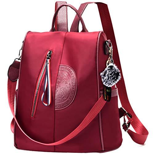 Women Nylon Backpack Purse waterproof Anti-theft Handbag Rucksack Lightweight Travel School Shoulder Bag (Red Large)