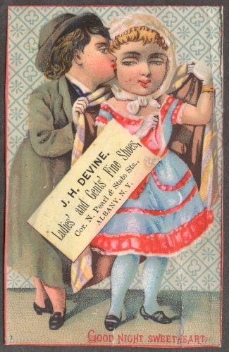 - J H Devine Ladies & Gents Shoes Albany NY trade card couple smooches 1880s