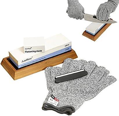 amhoo Premium afilador de cuchillos, 2 cara grano 1000/6000 ...