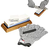 AmHoo Premium Knife Sharpener,2 Side 1000/6000 Grit Professional Whetstone Sharpening Stone With Non-Slip Silicon/Bamboo Base,Angle Guide & Flattening Stone (With Cut-Resistant Gloves)-Best Tool (XL)