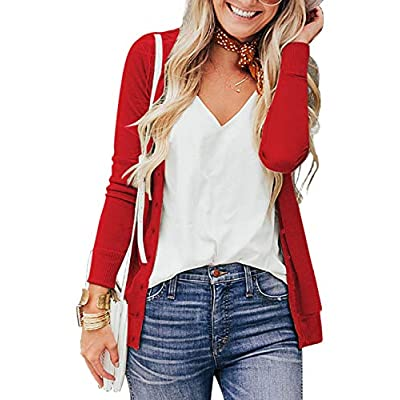 a.Jesdani Women's Button Down Crew Neck Long Sleeve Soft Knit Cardigan Sweaters at Women's Clothing store