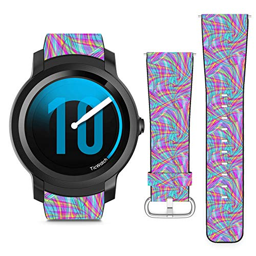 Compatible with Ticwatch E2 // 22mm Leather Replacement Bracelet Strap Wristband with Quick Release Pins // Bright Digital Psychedelic Overlay Swirl