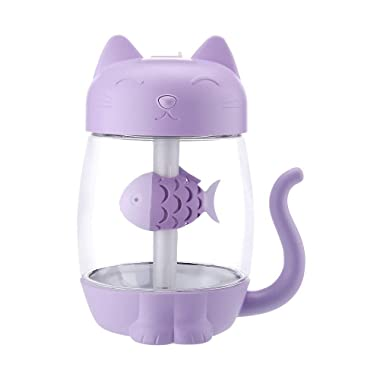 LiPing 3 in 1 Humidifier Cute Cat LED Humidifier Air Fan Diffuser Purifier AtomizerNight Light, Relaxing Light Show for Bedroom Living Room (Purple)