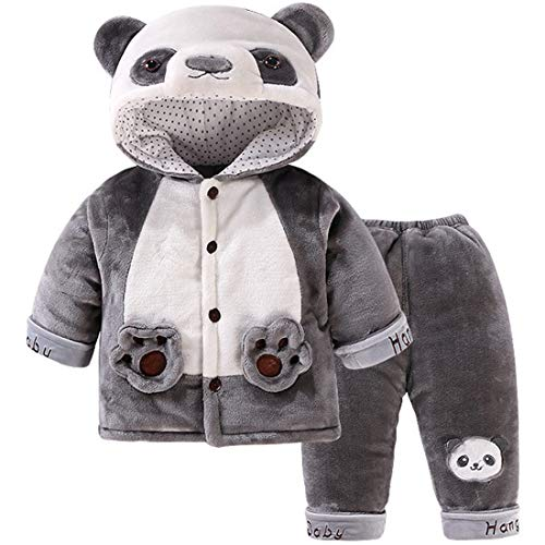 2 Pcs Baby Toddlers Kids Soft Winter Warm Cartoon Fox Panda Long Sleeve Hooded Snowsuit Jacket with Pant Outfit Set 1-2 Years ()