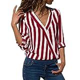 Women Long Sleeve Striped Shirt Irregular Office Blouse Split Kimono V-Neck Top(Red,Medium)