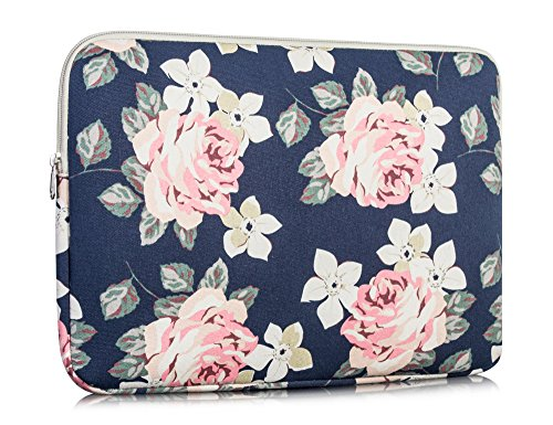 Canvas Laptop Case for Girls, 15.6 inch Rose Laptop Bag Note