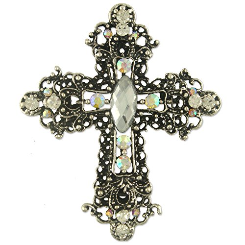 Anna Creation Women's Crystal Gothic Cross Brooch Pin Pendant Made With Swarovski Elements Clear -