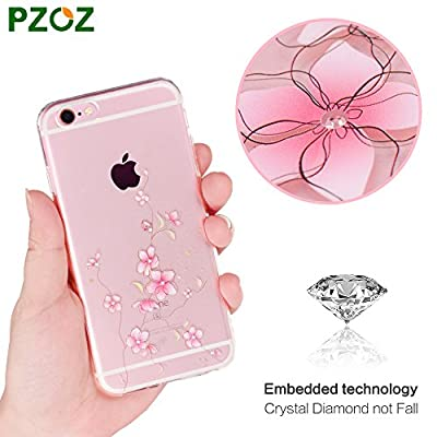 iPhone 6 Case,PZOZ Clear [Crystal Diamond not Fall] Soft TPU Protective Back Cover Case with Cute Pattern for iPhone 6/6S from PZOZ