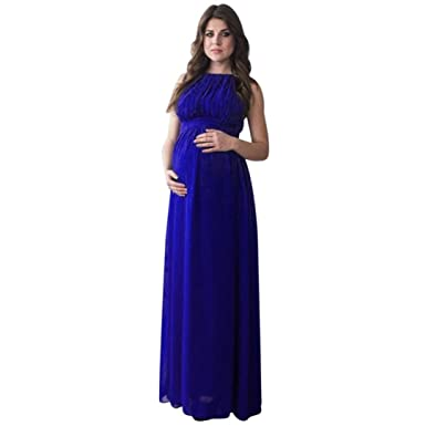 b2aaa0f637db3 Ruhiku GW Women s Sleeveless Maxi Maternity Dress Casual Boho Long Pregnant  Dress (Blue