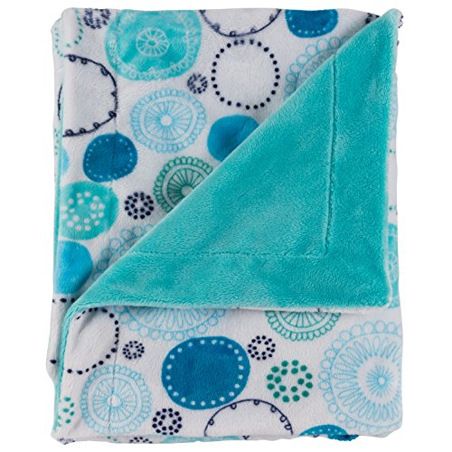 "Posh Designs Ultra Soft Baby Receiving Blanket - Luscious, Luxurious and Cuddly Minky Reversible Blankie - Multicolor Nursery Circles - 30"" x 36"