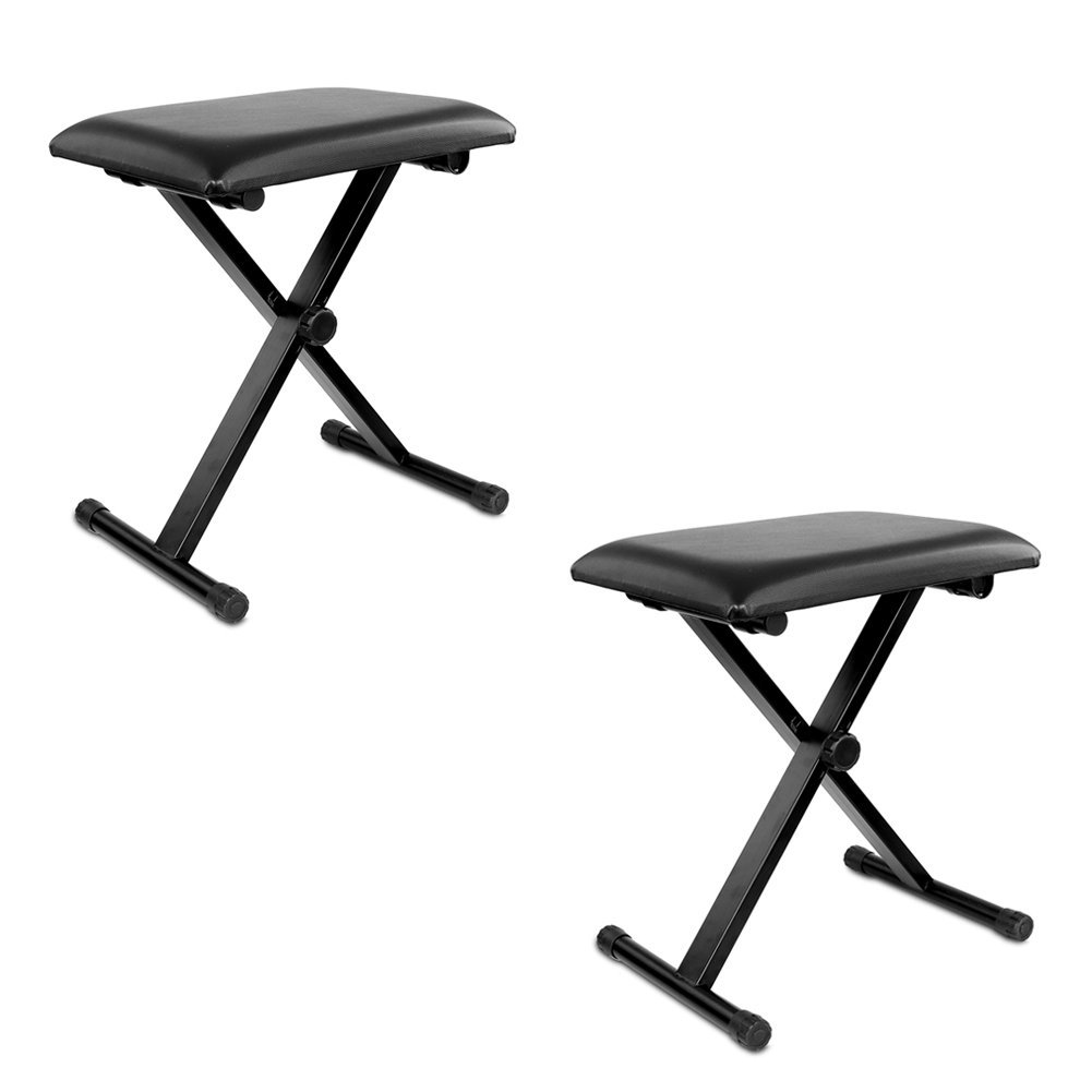 Neewer® 2-Pack Black 3-Position Height Adjustment (16.5''/17.5''/19.5'', 42cm/45cm/50cm) Folding Super-stable and Durable Padded Keyboard Benches with X-style Iron Legs