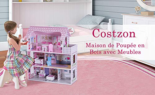 Blitzzauber24 Maison de Poup/ée en Bois Villa /à 3 Etages Maison de R/êves avec Accessoires,Dont Cuisine,Chambre,Salle de Bain,Balcon etc