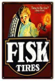"Aged Looking Re Tire Fisk Tires Gas Station Sign. 12""x 18"" .040 Aluminum. This Sign Has Eyelets. Made In The USA. Don't be fooled by cheap imitations, it's come to our intention that there are knock-offs of inferior quality in circulation. These knoc..."