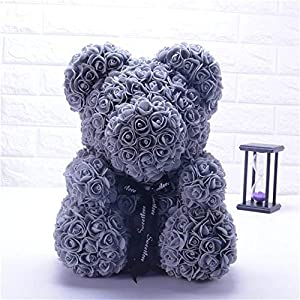 Disnation 40 cm The Rose Teddy Bear Cub Forever Artificial Rose for Valentine's Day Anniversary Birthday with Gift Box 77