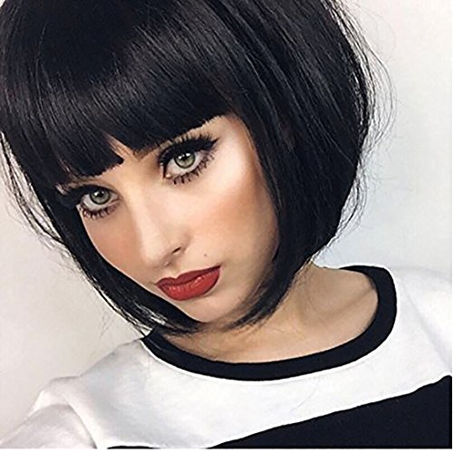 Search : DIFEI HAIR Short Straight Black Bob Wigs with Bangsfor Women Natural Synthetic Hair American African Wigs (1B)