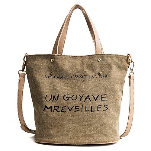 Meaeo Shoulder Bag Canvas Shoulder Bag Large Capacity White Yellow