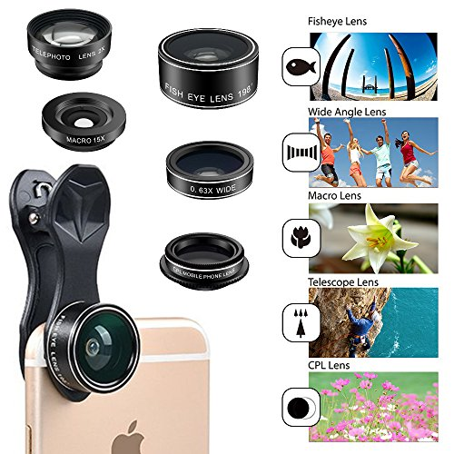5 In 1 Hd Camera Lens Kit Fish Eye Lens   2 In 1 Macro Lens   Wide Angle Lens   Cpl Lens For Iphone 7 Iphone 6 6 Plus 6S 6S Plus 5 5S Ipad Air Samsung Galaxy Note Sony Xperi
