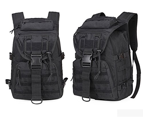 40L Camping Bags Waterproof Molle Backpack Military 3P Tad Tactical Backpack Assault Travel Bag for Men Cordura -Rain Cover Included (Black)