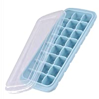 Ice Cube Trays, Silicone Ice Cube Molds with Lid Flexible 24-Ice Trays BPA Free, for Whiskey, Cocktail, Stackable Safe…