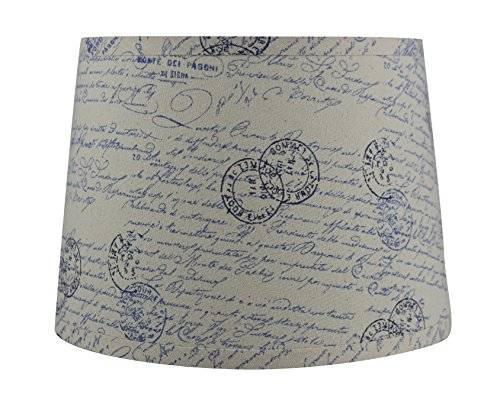 Urbanest French Drum Lampshade, Linen, 10-inch by 12-inch by 8 1/2-inch, Natural with Blue Script, -