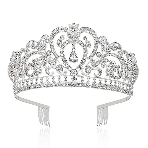 Makone Crystal Crowns and Tiaras with Comb for Girl or Women Birthday Party Wedding Tiaras (Style-6)]()
