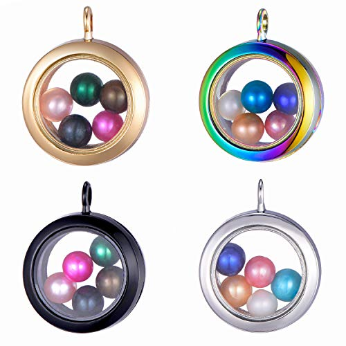 (4 Stainless Steel Tone and Gold Tone Black Multicolour Alloy Glass Pearl Cage Charm Pendant 30mm Pearl Living Memory Floating Locket for DIY Necklace Jewelry Making)