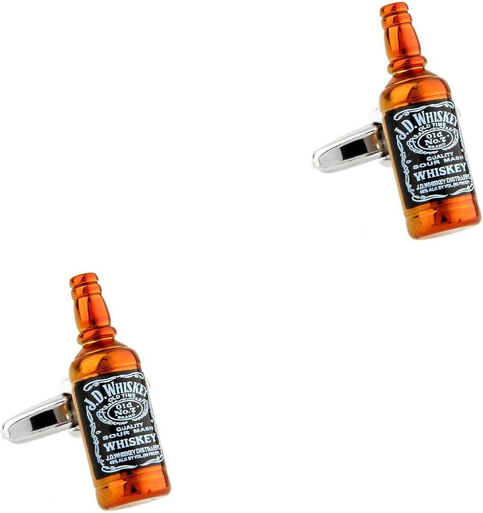CIFIDET Gemelos Mancuernas de la Botella de Whisky joyería de la Camisa de los Hombres de la Moda con la Caja de Regalo: Amazon.es: Joyería